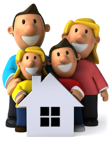 Cartoon happy family with a house