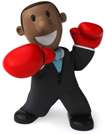 Cartoon businessman with boxing gloves punching