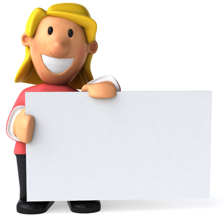 Cartoon casual woman holding a signboard Stock Photo