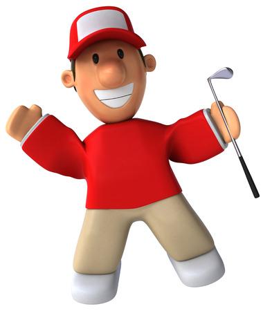 computer club: Cartoon happy golfer with a golf club