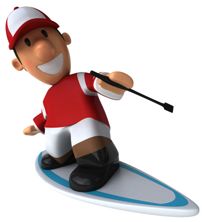 Cartoon jockey surfing Stock Photo