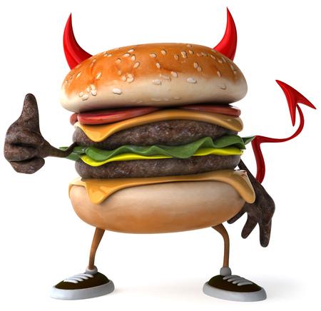 3D evil hamburger showing thumbs up gesture