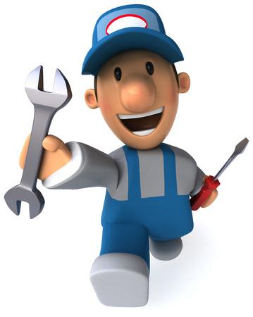 Beeldverhaalmonteur met moersleutel en schroevedraaier Stockfoto