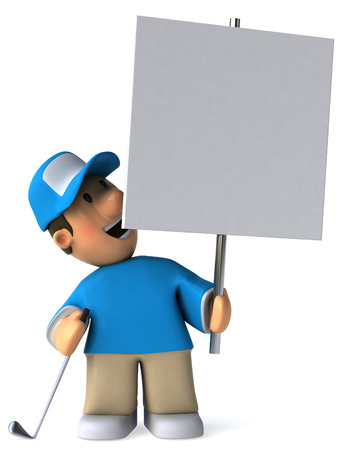 Cartoon golfer holding a placard