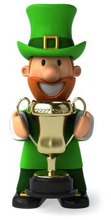 st  patrick's day: Cartoon leprechaun man holding a trophy