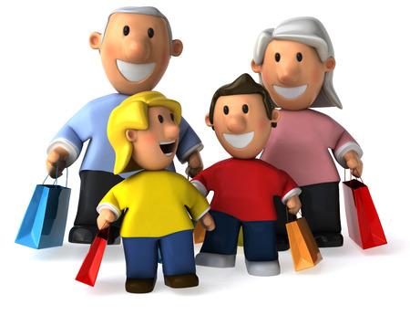 shoppping: Cartoon grandparent and kids shoppping