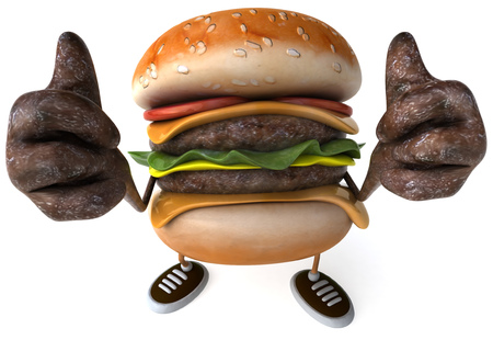 3D hamburger showing thumbs up gesture