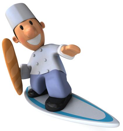 Dessin animé boulanger avec baguette surf