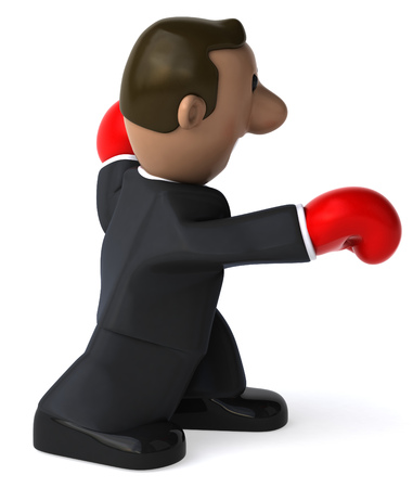 padding: Cartoon businessman with boxing gloves punching
