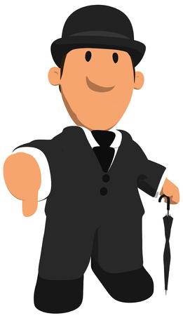 Cartoon gentleman showing thumbs down gesture