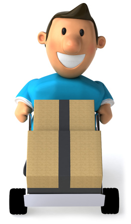 Cartoon casual man pushing a trolley with boxes