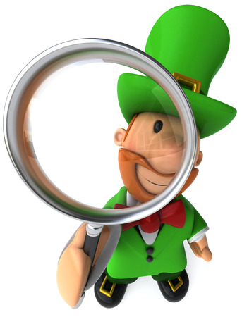 st  patrick's day: Cartoon leprechaun with magnifying glass Stock Photo