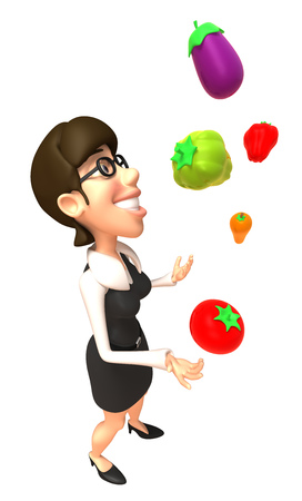Cartoon businesswoman juggling fruits and vegetables