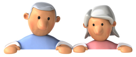 Cartoon senior couple