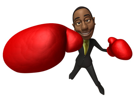 Cartoon businesswoman with boxing gloves punching Stock Photo