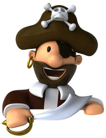 eyepatch: Cartoon pirate with sword smiling Stock Photo