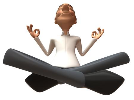 Cartoon casual man with meditation pose