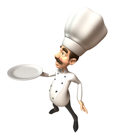 Cartoon chef showing an empty plate