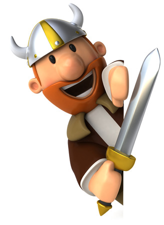 Cartoon viking man with sword
