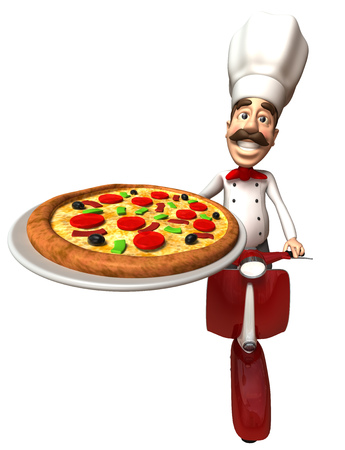 cartoon tomato: Cartoon chef riding on scooter showing a pizza Stock Photo