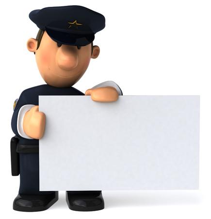 看板を持っている漫画警官 写真素材