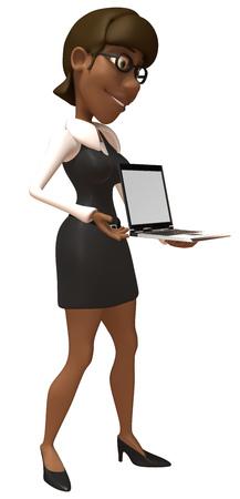 Cartoon businesswoman showing a laptop