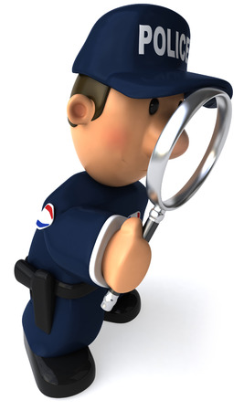 Cartoon policeman with a magnifying glass