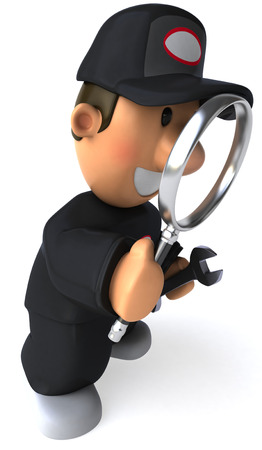 Cartoon mechanic with magnifying glass and wrench