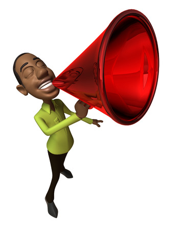 Cartoon casual man shouting into megaphone