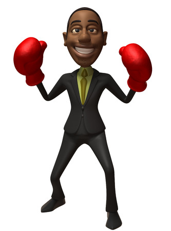 padding: Cartoon businessman with boxing gloves Stock Photo