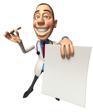 Cartoon doctor holding paper and a pen
