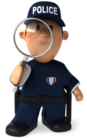investigating: Cartoon policeman with a magnifying glass