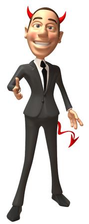 Cartoon evil businessman pointing Stock Photo