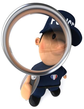 虫眼鏡で漫画警官 写真素材 - 81107837