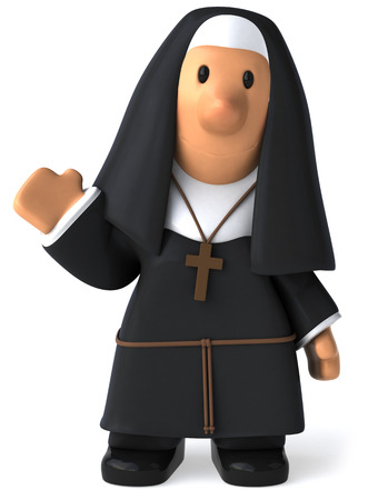 Cartoon nun waving Stock Photo