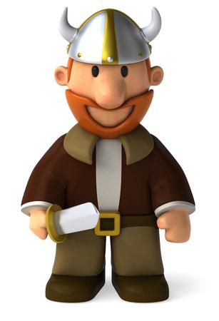 Cartoon viking man standing