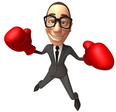 Cartoon businessman with boxing gloves Stock Photo