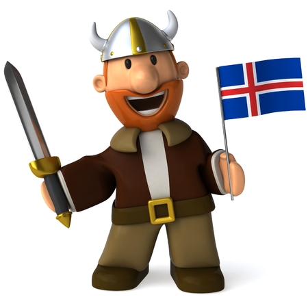 the icelandic flag: Cartoon viking man with sword and Flag of Iceland