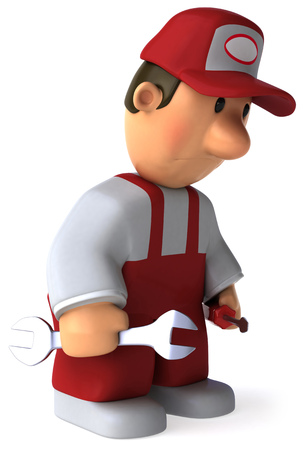 Cartoon mechanic with wrench and screwdriver feeling tired Stock Photo