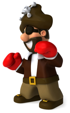 Cartoon pirate with boxing gloves