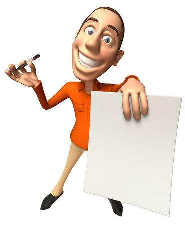 Cartoon casual man with a paper and a pen