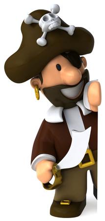 peep: Cartoon pirate with sword peeking