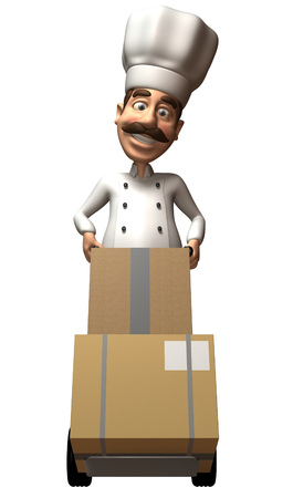 pushcart: Cartoon chef pushing a trolley with boxes