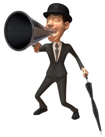 Cartoon gentleman shouting into megaphone Stock Photo