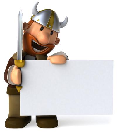 Cartoon viking man with sword holding a signboard