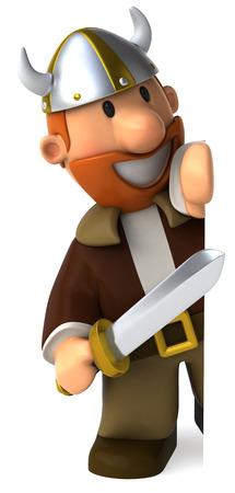 Cartoon viking man with sword peeking Stock Photo