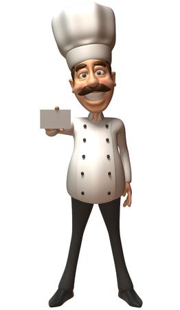 jobs: Cartoon chef showing a name card