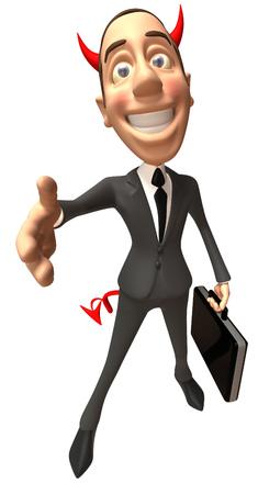 jobs: Cartoon evil businessman offering a handshake Stock Photo