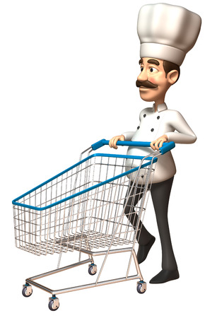 jobs: Cartoon chef pushing a shopping cart Stock Photo