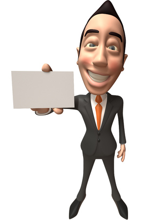 asian business: Cartoon businessman showing a name card Stock Photo